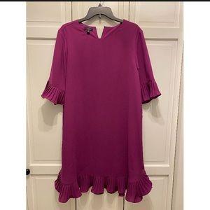 NWT Alfani Pleated Bell Sleeve Dress Fuchsia 12